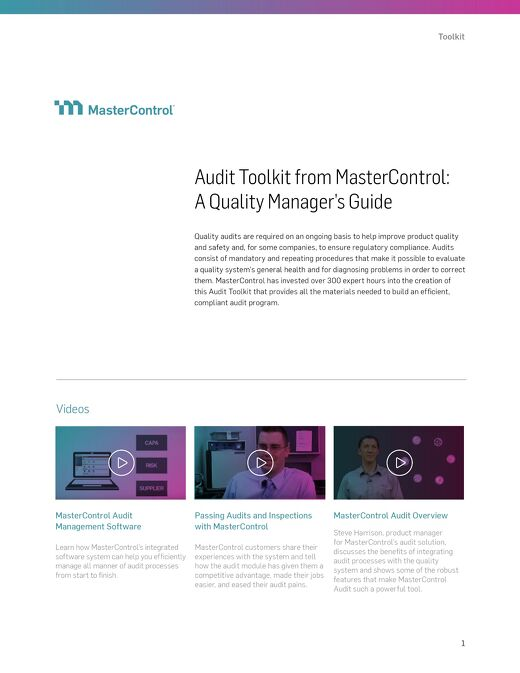 Audit Toolkit from MasterControl