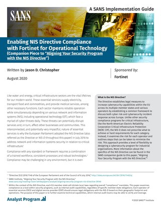 Enabling NIS Directive Compliance with Fortinet for OT