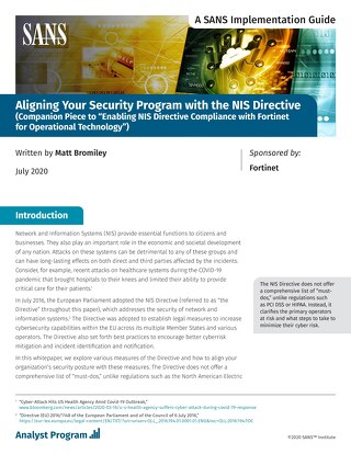 Aligning Your Security Program with the NIS Directive