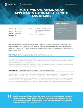OverlayAnalytics: Evaluating Thousands of Applicants Automatically with Snowflake