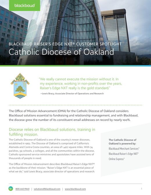 Diocese of Oakland RENXT Customer Spotlight