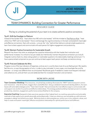 Team Dynamics: Building Connection for Greater Performance Resource Guide by Jackie Insinger