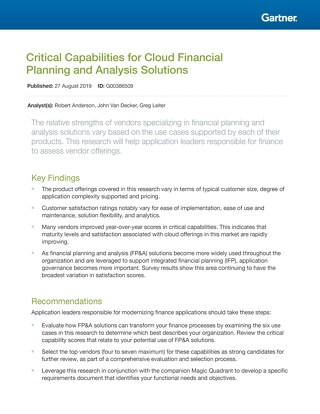 Gartner Magic Quadrant Critical Capabilities for FPA