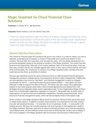 Magic Quadrant for Cloud Financial Close 2019