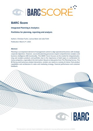 Barc Score Integrated planning & Analytics 2020