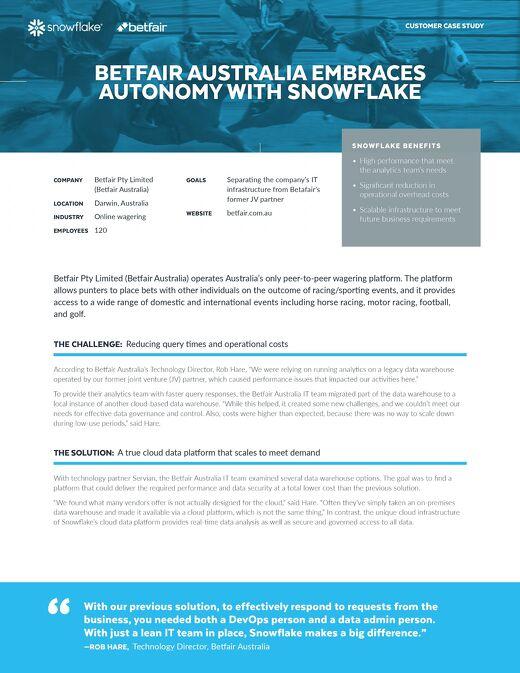 Betfair Australia Embraces Autonomy with Snowflake