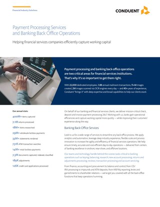 Payment Processing Services and Banking Back Office Operations