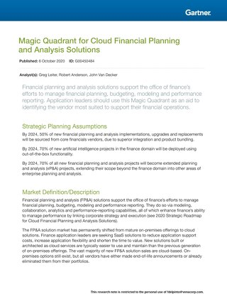 Gartner Magic Quadrant for Cloud FP&A 2020