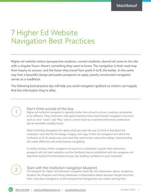 Tip Sheet: 7 Higher Ed Website Navigation Best Practices