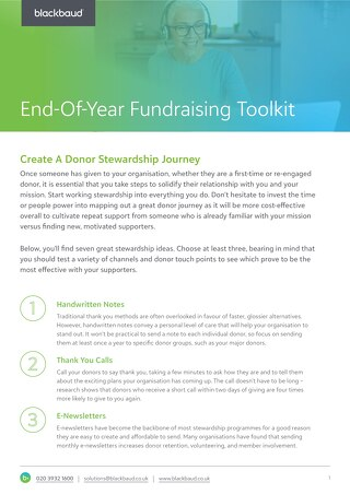 Create A Donor Stewardship Journey Tipsheet