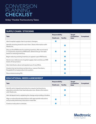 Guide: Shiley™ Tracheostomy Tubes Conversion Planning Checklist