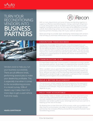 Turn Your Reconditioning Vendors Into Business Partners