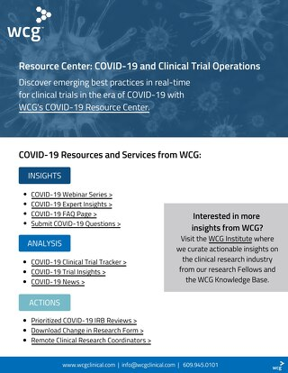 WCG's COVID-19 Resources Sell Sheet