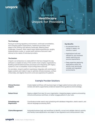 Solution Brief: Unqork for Healthcare Providers