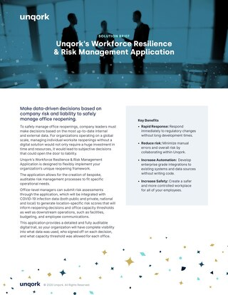 Solution Brief Unqork's Workforce Resilience &  Risk Management Application