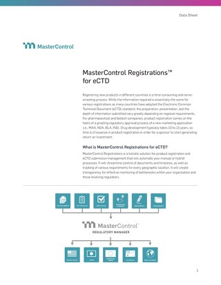 MasterControl Registrations™ for eCTD