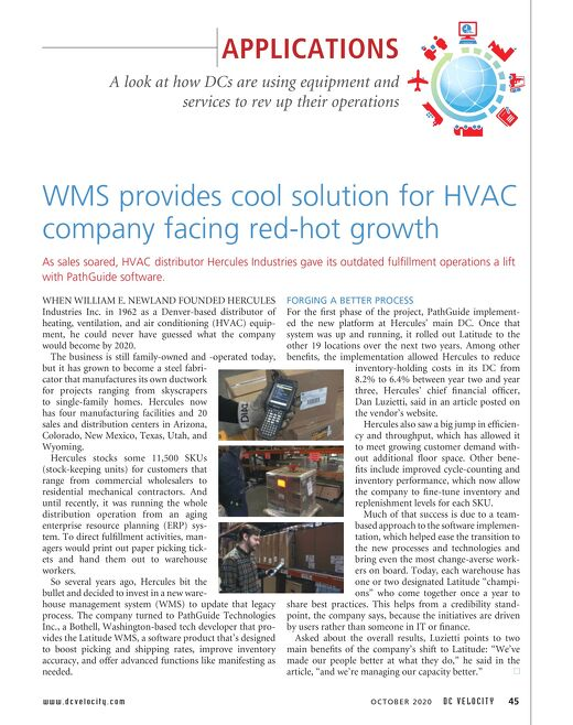 Hercules Industries and Latitude Featured in DC Velocity