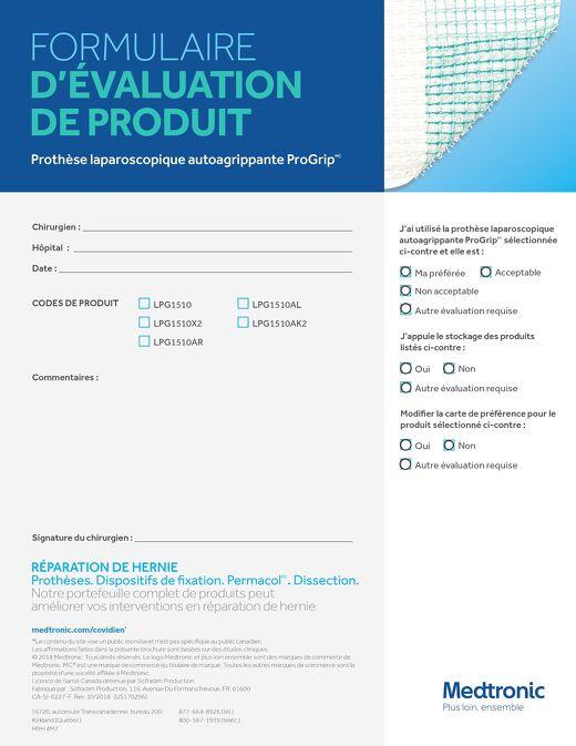Prothèse laparoscopique autoagrippante ProGrip - FORMULAIRE D'ÉVALUATION DE PRODUIT