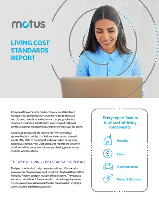 Motus Living Cost Standards Report