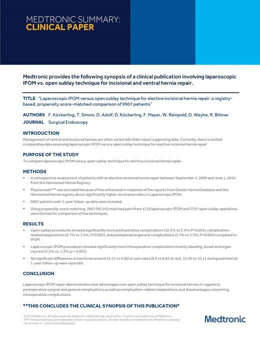 Laparoscopic IPOM versus open sublay technique for elective incisional hernia repair