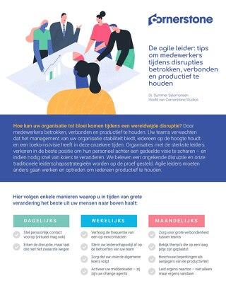 De agile leider: tips om medewerkers tijdens disrupties betrokken, verbonden en productief te houden