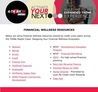 THINK Master Class Financial Wellness Resources