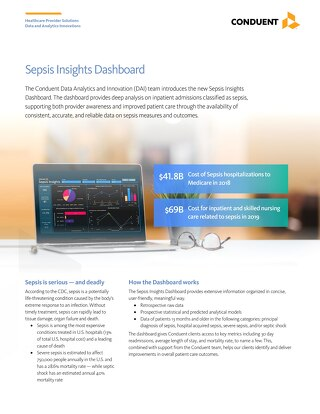 Conduent Sepsis Insights Dashboard