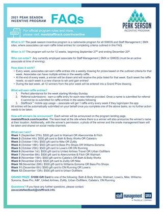 Peak Season Incentive Program FAQs 2021