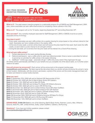 Peak Incentive Program FAQs 2021