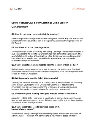 RLDatix Safety Learnings Demo Session Q&A
