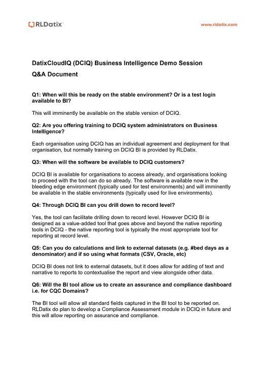 RLDatix Business Intelligence Demo Session Q&A