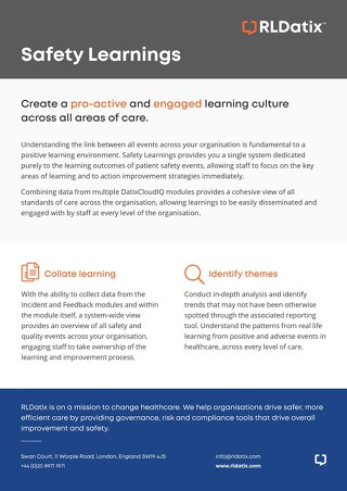 RLDatix Safety Learnings:  pro-active and engaged learning culture