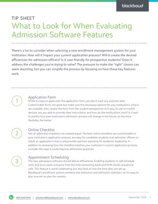 Tip Sheet: What to Look for When Evaluating Admission Software Features