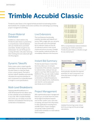 Trimble Accubid Classic Estimating Datasheet