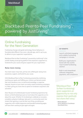 Data Sheet: Blackbaud Peer-to-Peer Fundraising™, powered by JustGiving®
