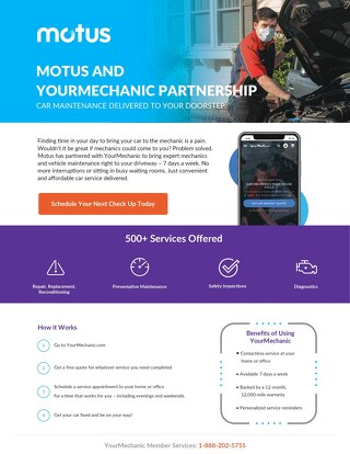 Motus and YourMechanic Partnership One Pager
