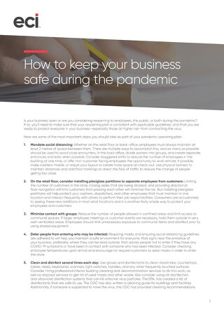 How to keep your business safe during the pandemic
