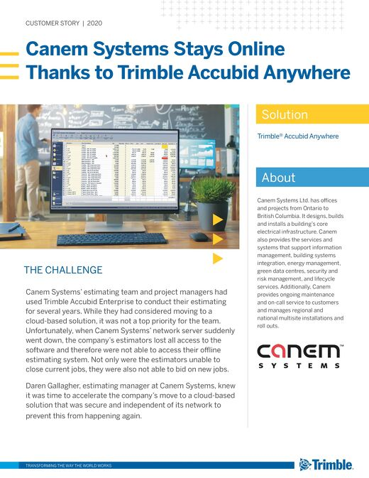 Canem Systems Stays Online with Trimble Accubid Anywhere