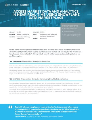 FactSet: Access Market data and Analytics in Near Real-time Using Snowflake Data Marketplace
