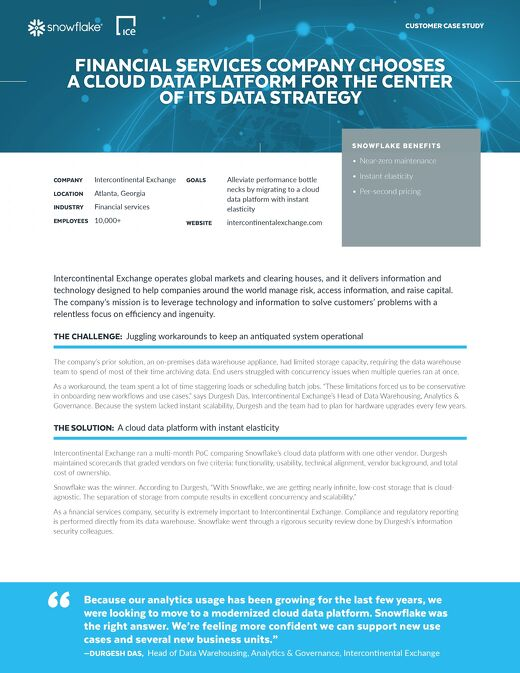 Intercontinental Exchange: Financial Services Company Chooses a Cloud Data Platform for the Center of its Data Strategy