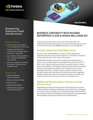 Business Continuity with Nutanix Enterprise Cloud and NVIDIA Mellanox DCI