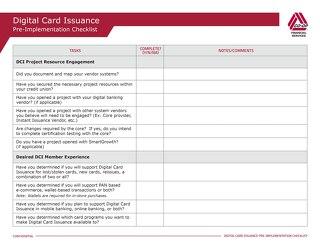 DCI Pre-Implementation Checklist Template Editable