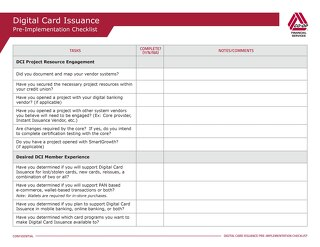 Digital Card Issuance Pre-Implementation Checklist