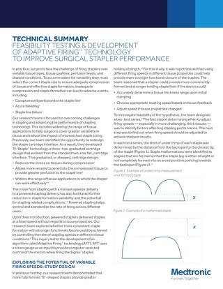 Whitepaper: FEASIBILITY TESTING & DEVELOPMENT OF ADAPTIVE FIRING™ TECHNOLOGY TO IMPROVE SURGICAL STAPLER PERFORMANCE