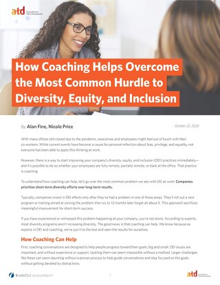 How Coaching Helps Overcome the Most Common Hurdle to Diversity, Equity, and Inclusion