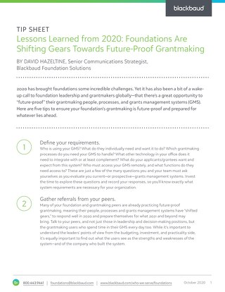 Tip Sheet: Lessons Learned from 2020: Foundations Are Shifting Gears Towards Future-Proof Grantmaking
