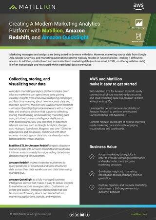 Solution Brief: Marketing Analytics with Matillion, Amazon Redshift and Quicksight