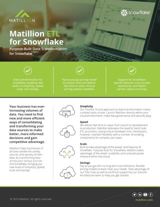 Matillion ETL for Snowflake: Purpose Built Data Transformation for Snowflake