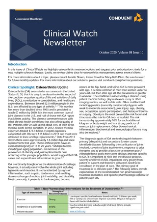 October 2020 Clinical Watch Newsletter