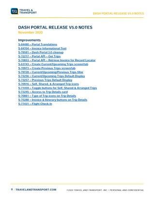 Dash Portal 5.0 Release Notes